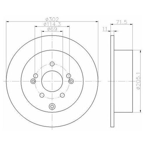 Тормозной диск Mintex MDC2012 для Hyundai Santa Fe I,II