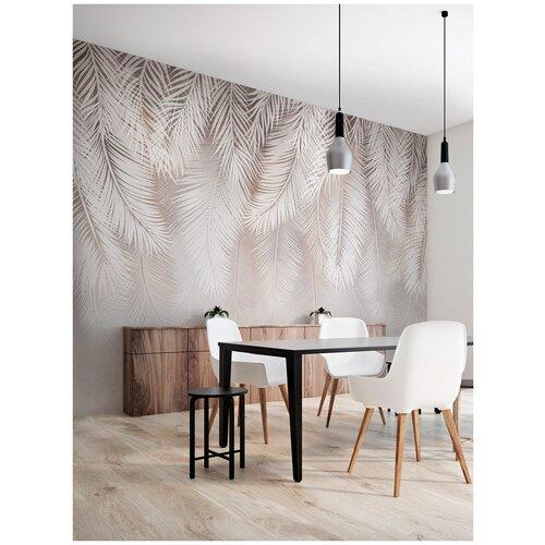 Фотообои Пальмовые листья в серо-коричневых тонах/ Красивые уютные обои на стену в интерьер комнаты/ 3Д расширяющие пространство/ На кухню в спальню детскую зал гостиную прихожую/размер 400х270см/ Флизелиновые