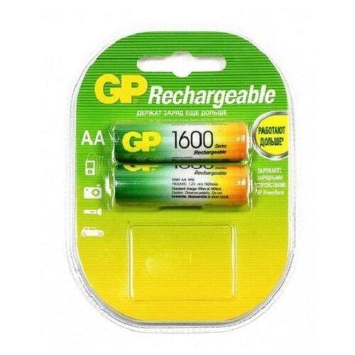 Фото - Аккумуляторы GP Rechargeable 1600 mAh NiMH AA 1.2V (2 шт) аккумуляторы gp 1000 мач в комплекте с зарядным устройством адаптером 1а и кабелем