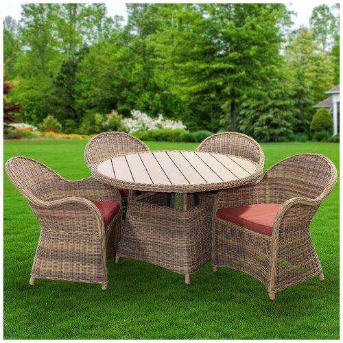 Мебель садовая Милтон с красными подушками