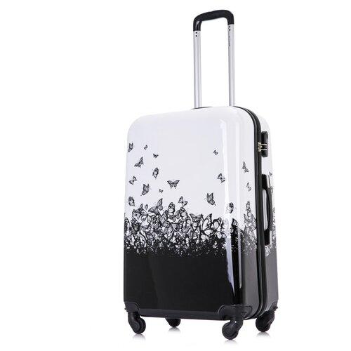 Чемодан LCase, Butterfly, черно-белый 26