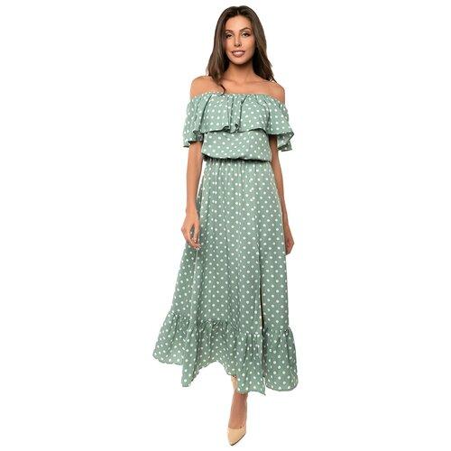 Платье сарафан в горох, открытые плечи с воланом, юбка колокольчик с воланом, зеленый цвет, размер M