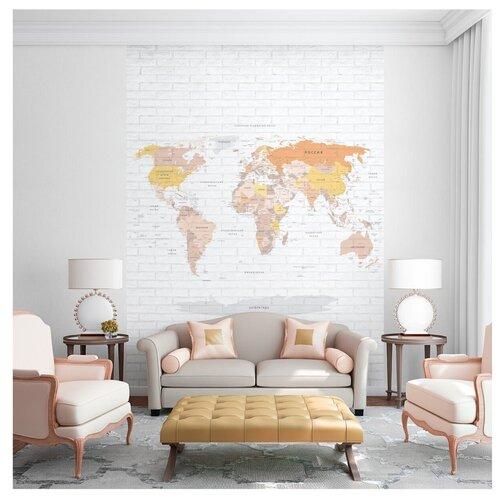 Фотообои Карта мира на русском языке в желто-коричневых оттенках на серой кирпичной стене/ Красивые стильные обои на стену в интерьер комнаты/ Детские для мальчика для девочки, для подростков/ На кухню в спальню детскую зал гостиную прихожую/ размер 200х270см/ Флизелиновые