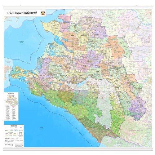 Настенная карта Краснодарского края 150 х140 см (с подвесом)
