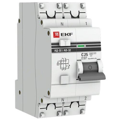 Фото - Дифференциальный автомат EKF АД-32 2П 30 мА C 4.5 кА AC электронный 25 А дифференциальный автомат ekf ад 4 4п 30 ма c 4 5 ка ac электронный 40 а