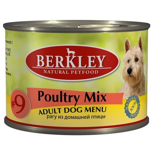 Berkley Adult Dog Menu Poultry Mix № 9 паштет для взрослых собак с натуральным мясом цыплёнка, индейки, утки - 200 г х 6 шт