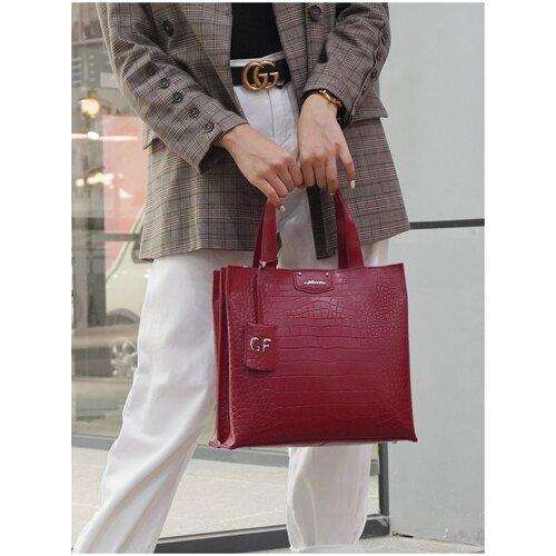 Эффектная Сумка женская 2019831B K125 rosso Giorgio Ferretti с наплечным ремнем/Италия, 100% натуральная кожа