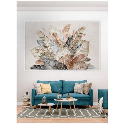 Фотообои Большие тропические листья в серо-коричневых тонах/ Красивые уютные обои на стену в интерьер комнаты/ 3Д расширяющие пространство/ На кухню в спальню детскую зал гостиную прихожую/ размер 200х129см/ Флизелиновые