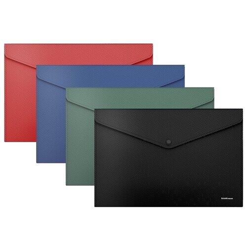 Папка-конверт на кнопке пластиковая ErichKrause Diagonal Classic, непрозрачная, A4, ассорти (в пакете по 12 шт.) недорого