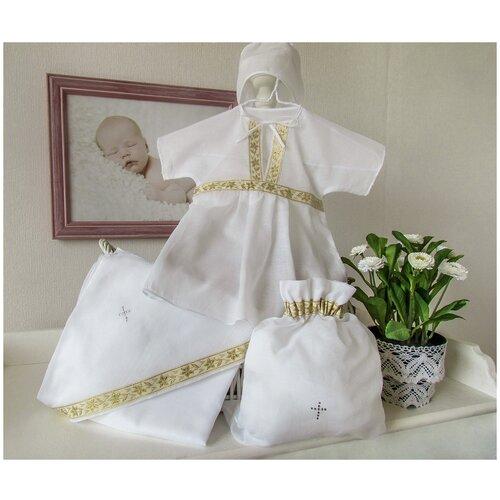 Купить Классика, 4 предмета, Крестильный набор Makkaroni Kids для девочки, (9-12 мес Белый/золото), Крестильная одежда