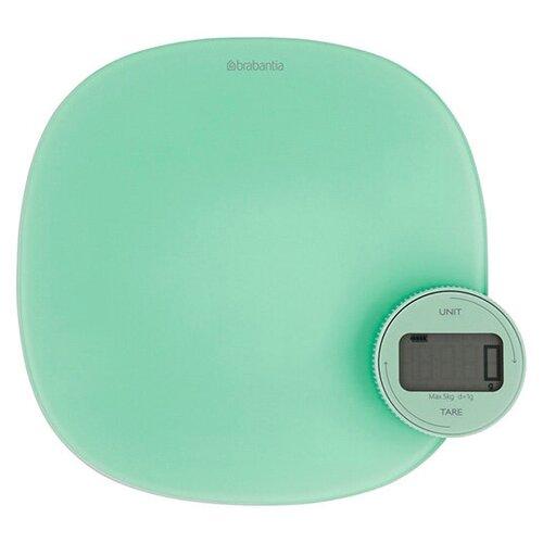 Цифровые кухонные весы Plus 20x4,5 см, материал стекло + пластик, цвет мятный, Brabantia, 122903