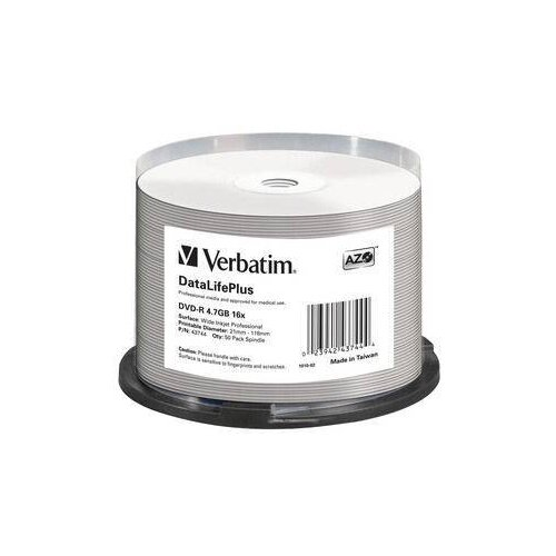 Диск DVD-R Verbatim 4.7Gb 16x Cake Box (50 штук), Printable (43744)