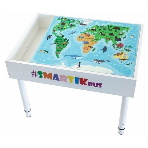 """Световой стол-песочница SMARTIK с грифельной крышкой, игровым полем """"карта мира"""" и открытым пеналом"""