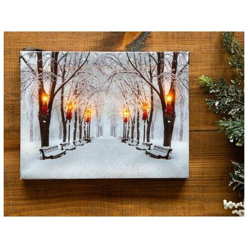 Светящееся настенное панно снег И фонари, LED-огни, 20х15 см, Peha Magic