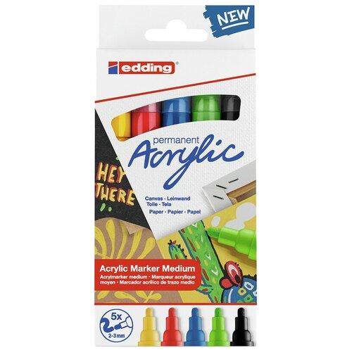 Маркеры акриловые Edding, средний круглый наконечник, 2-3 мм, 5 цветов edding маркеры 2 3 мм 5 шт 4500 разноцветные