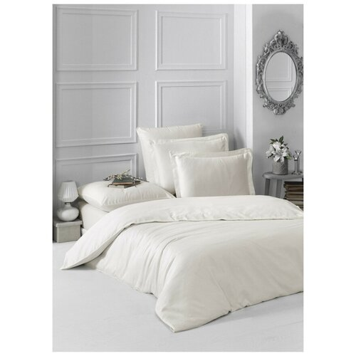 Комплект постельного белья 1,5-спальный однотонный LOFT (экрю) комплект постельного белья karna евро сатин однотонный loft екрю 2986 char003