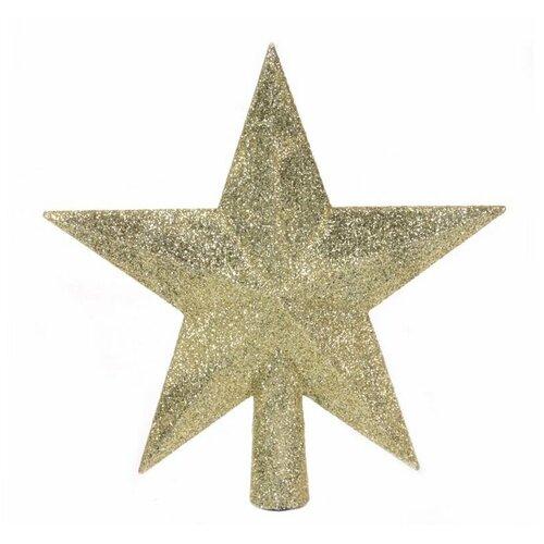 Елочная верхушка звезда делюкс, пластик, глиттер, цвет: золотой, 19 см, Kaemingk