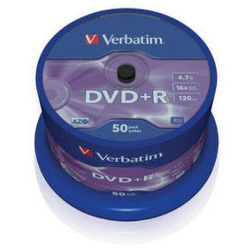 Диск DVD+R Verbatim 4.7 Gb, 16x, Cake Box (50), (50/200)