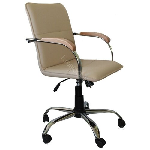 Кресло офисное Самба GTP хром искусственная кожа св.бежевая