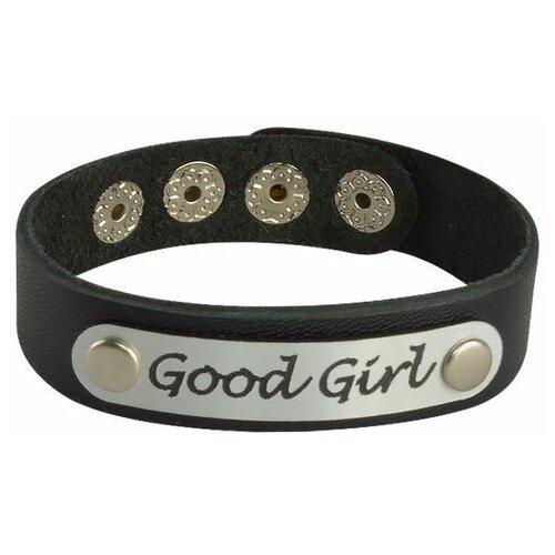 Кожаный браслет Good Girl (Цвет : черный с серебристым) (Состав : натуральная кожа)