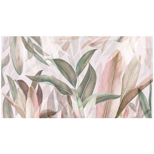 Фотообои Листья в бежевых и зеленых тонах/ Красивые уютные обои на стену в интерьер комнаты/ 3Д расширяющие пространство над кроватью или над столом/ На кухню в спальню детскую зал гостиную прихожую/ размер 500х270см/ Флизелиновые