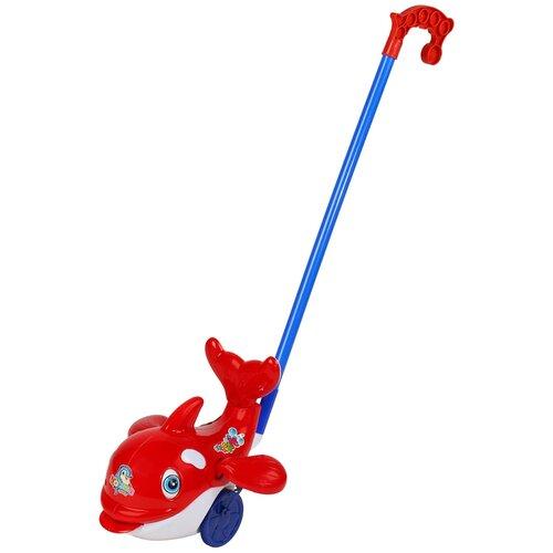 Купить Каталка детская Дельфин , игрушка развивающая для малышей, каталка на палочке, игрушка с палочкой, в/п 20х10х13 см, Play Smart, Каталки и качалки