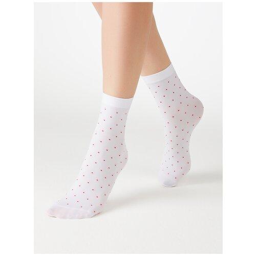 Капроновые носки MiNiMi Micro pois 70, размер 0 (one size), bianco/rosso