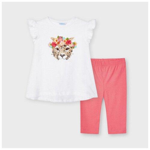 Комплект одежды Mayoral размер 5(110), белый/коралловый комплект одежды mayoral размер 110 белый красный