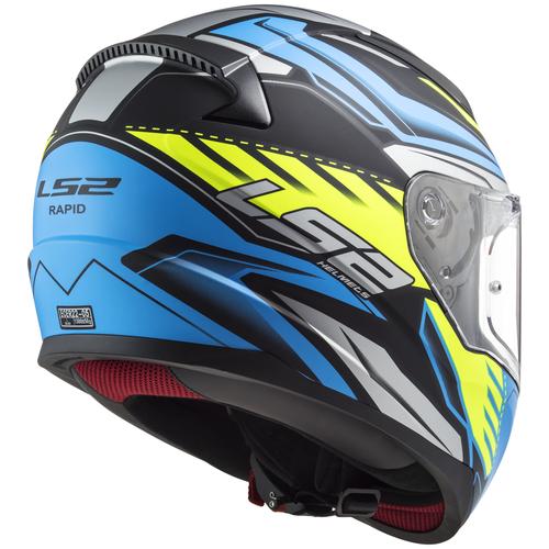 Шлем LS2 FF353 RAPID GALE Matt Black Blue Yellow (XS, Matt Black Blue Yellow)