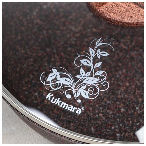 Сковорода Kukmara Granit ultra red, d 24 см, с ручкой, стеклянная крышка, антипригарное покрытие сковорода kukmara d 28см granit ultra red сга280а