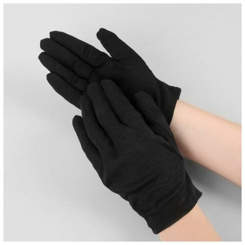 Перчатки хлопковые р-р L чёрн пакет (фас 12пар цена за пару) 5122074