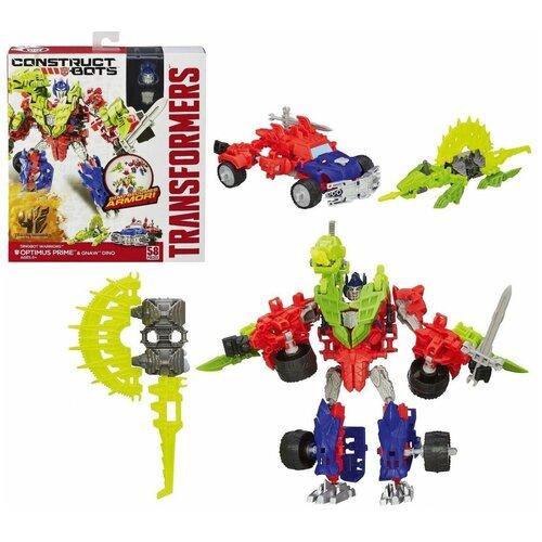 Купить Конструктор Hasbro: Констракт-Боты Оптимус Прайм и Жующий Динозавр (Construct bots Optimus Prime and Gnaw dino) Трансформеры (Transformers) 58 деталей, Роботы и трансформеры