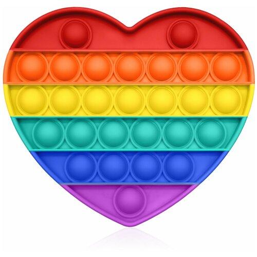 Антистресс игрушка Goodly Pop It, 27 пузырьков, вечная пупырка, успокоительная, сенсорная тактильная игра, Радужное сердце