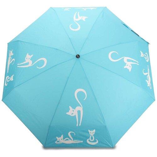 Женский зонт механический с проявляющимся рисунком 611 Light Blue