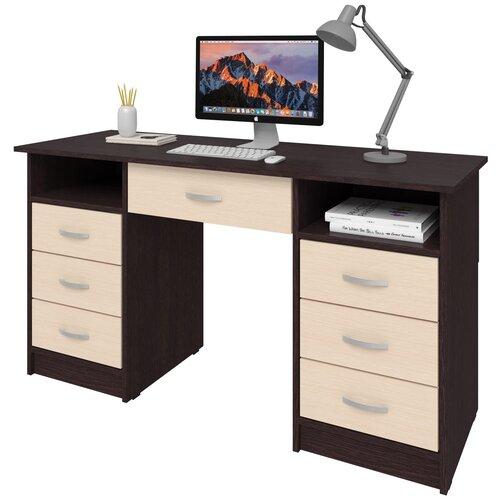 Фото - Письменный стол СитиМебель с 6 ящиками и дополнительным ящиком под столешницей, ШхГ: 140х50 см, цвет: венге цаво/дуб молочный письменный стол ситимебель компактный шхг 140х50 см цвет венге цаво