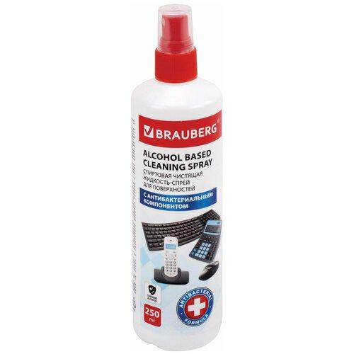 Фото - Чистящая жидкость-спрей спиртовая универсальная антибактериальная, BRAUBERG 250мл, 513535 чистящая жидкость спрей brauberg 513288