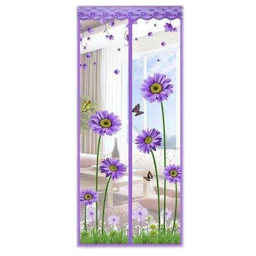 Дверная москитная сетка на магнитах универсальная с рисунком 100х210см Rosenberg фиолетовая R-400004