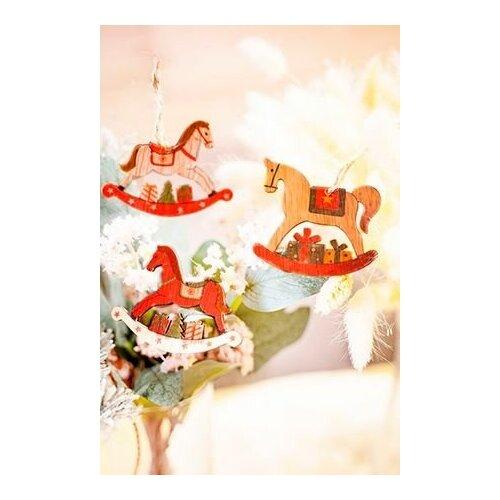 Набор ёлочных игрушек лошадки-качалки, дерево, 9 см, 9 шт., Breitner 73-8922
