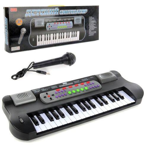 Детский синтезатор с микрофоном, детское пианино развивающая игрушка для детей от 3 лет с регулировкой громкости, питание от сети/на батарейках, на русском языке