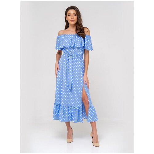Платье сарафан в горох, открытые плечи с воланом, юбка колокольчик с воланом, голубой цвет, размер XS