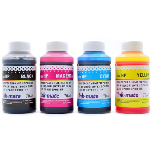 Комплект универсальных чернил для HP / чернила для HP (пигментный черный + водные цветные) 4 цвета по 70 мл совместимые
