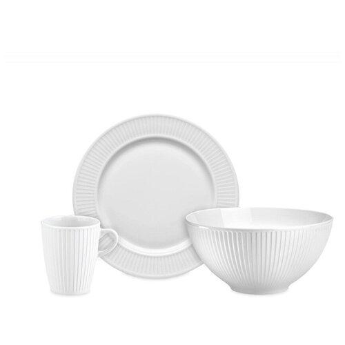 Набор обеденный на 4 персоны, 12 предметов, цвет белый, фарфор, Pillivuyt, 994205BX1 стол laredoute обеденный круглый на 4 персоны authentic style 4 персоны белый