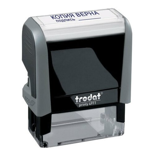 Фото - Штамп стандартный копия верна, подпись, оттиск 38х14 мм, синий, TRODAT 4911P4-3.42, 54194, 1 шт. штамп trodat 4911 прямоугольный копия верна черно серый корпус синий