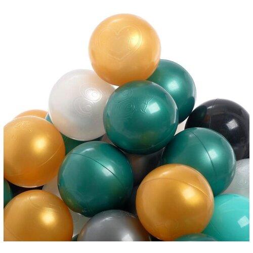 Шарики для сухого бассейна Соломон 150 штук, бирюзовый, серебро, зеленый металлик, золотой, белый перламутр, черный
