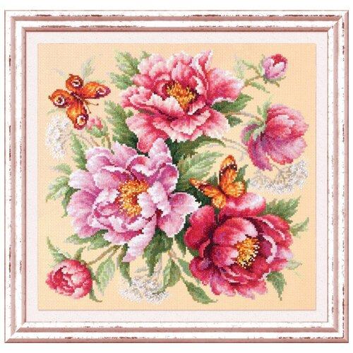 Набор для вышивания Чудесная Игла 140-001 Магия цветов. Пионы 30 х 30 см чудесная игла набор для вышивания пионы для умелицы 25 х 25 см 100 124