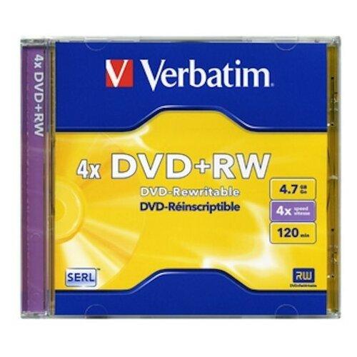 Диск Verbatim DVD+RW Verbatim 4.7Gb 4x Jewel case (1шт) 43229, 572781