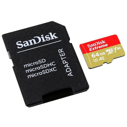 Фото - Карта памяти 64Gb - SanDisk Extreme Micro Secure Digital XC - Class 10 UHS-3 SDSQXA2-064G-GN6AA с переходником под SD (Оригинальная!) карта памяти 256gb sandisk extreme pro secure digital xc