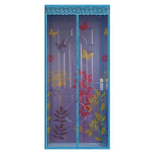 Дверная москитная сетка на магнитах универсальная с рисунком 100х210см Rosenberg синий R-400013