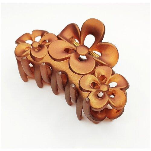 Купить Заколка- краб для волос, цветы, светло-коричневый, Fashion jewelry