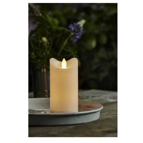 свеча светодиодная пластиковая с эффектом мерцающего пламени высота 8 5 см цвет бежевый 063 88 Свеча светодиодная пластиковая BIANCO с эффектом мерцающего пламени, высота - 15 см, цвет - белый, 064-02